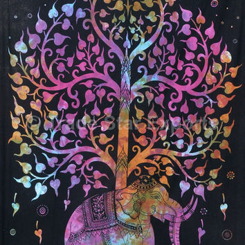 Indian Tapestry Tapestries,  Tie Dye Tapestry Wall Hanging, Twin Bedding, Tree of Life Wall Art, Good Luck Elephant Wall Tapestries