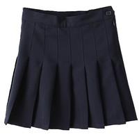 Dark Blue Pleated Mini Skirt - Choies.com