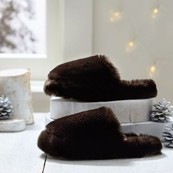 Faux Fur Slippers, Brown
