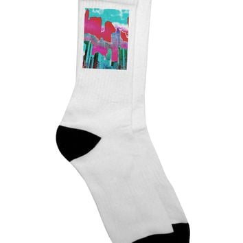 Chicago Abstract 2 Watercolor Adult Crew Socks