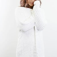 Sweet Chill Snow White Chenille Long Cardigan