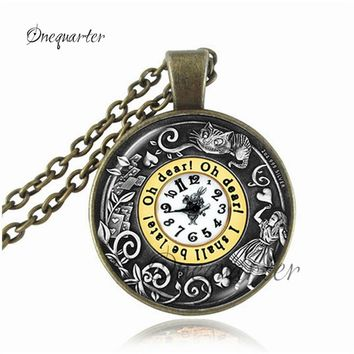 Drop Shipping Alice In Wonderland pendant vintage Madhatter clock necklace You've Lost Your Muchness pendant necklace for women