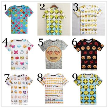 Women Men Print 3D Emoji Emoticons Summer T-shirts Smiley Face Emotion Lovely Funny Cartoon Short Sleeve Graphic Tess Tops