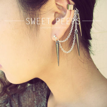 Ear Cuff Set Black Spiked Silver