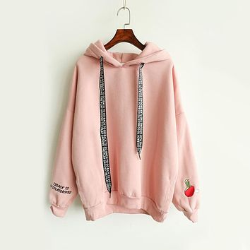 Autumn Winter New Casual Cashmere Women Hoodies Cute Pattern Embroidered Letter Drawstring Harajuku Street Thick Sweet Pullovers