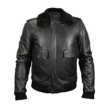 Forzieri Designer Leather Jackets Men's Black Leather Jacket w/Detachable Shearling Collar