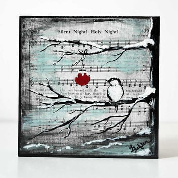 Christmas Art Wood Block Shelf Sitter Original Painting Silent Night Holy Night Hymn Bird inTree Painting Ornament Christmas Bird Painting