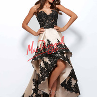 Cap Sleeved Hi-Low Mac Duggal Black White Red Prom Gown 61993R