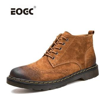 Genuine Leather Men Boots Winter Ankle Boots Fashion Footwear Lace Up Shoes Men High Quality Vintage Men Shoes