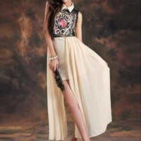 Beige Retro Print Chiffon Dress S010513
