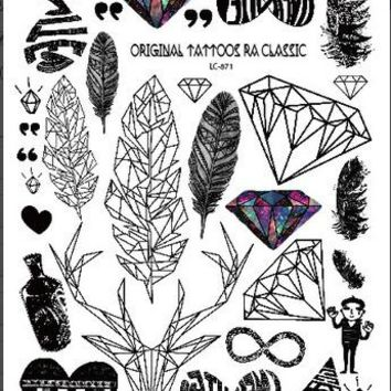 Temporary Tattoo Sticker Men Body Arm Tattoo Sleeve Waterproof Fake  Tattoo Black