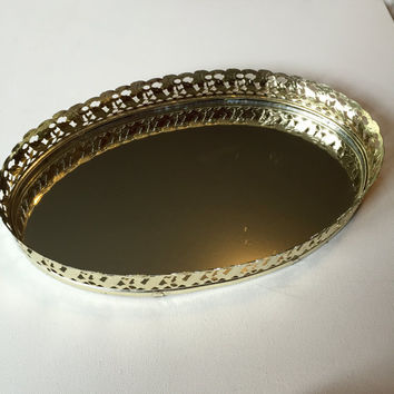 Gold Mirror Tray, Vintage Vanity Mirror with Gold Filigree, Jewelry Tray or Perfume Tray, Vintage Oval Vanity Tray