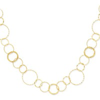 14k Yellow Gold Combo Circle Chain Necklace