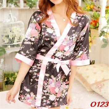 Sexy Womens Sleepwear Robe Japanese Kimono Costume Nightgown Uniform-O123