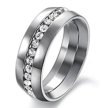7mm Silver Titanium Stainless Steel Channel Set Cubic Zirconia CZ Wedding Engagement Ring Band