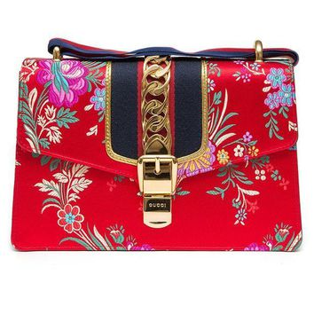 CREYIX5 Gucci Sylvie Red Jacquard Floral Tokyo Silk Small Bag Ribbon Leather Handbag New Box