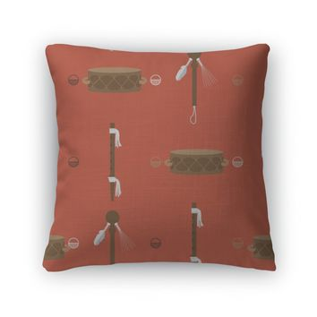Throw Pillow, Pattern With Bright Orange American Native Indians Musical Instruments As Quena
