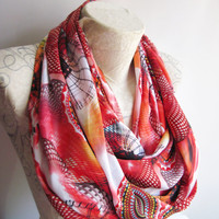 Abstract Scarf,Red Colorful İnfinty Scarf , Red Satin İnfinity Scarf