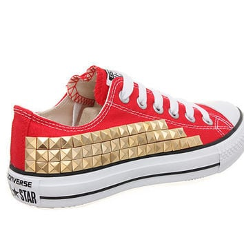 Studded Converse, Converse Red Low Top with Gold Pyramid Studs by CUSTOMDUO