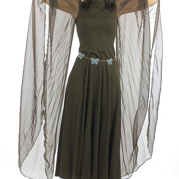 70s Boho Hippie sheer angel sleeve dress pleated