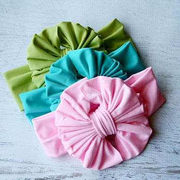 Super Soft  Messy Bow Headband Combo #5, Messy Bow, Head wrap, Baby Headband, Turban, Girl Bow, Big Bow, Floppy Bow, Baby Bow