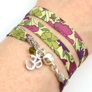 Om Wrap Bracelet, Liberty of London Fabric, yoga jewelry, yoga bracelet, namaste jewelry