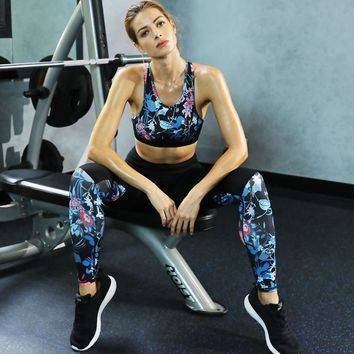 Women Yoga Set Retro Floral Printed Sports Suit Gym Fitness Clothing Tracksuit Female Running Sports Dance Tops+Leggings
