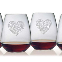 Bormioli Heart Designs Stemless Wine Glasses