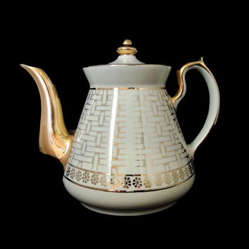 Vintage Hall Pottery Teapot Gold Basket Weave Mid Century