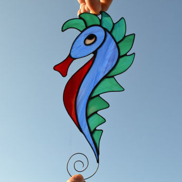 Stained Glass Sea Horse, Window Hanging Decoration or Wall Decor