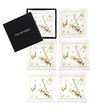 Tee Time Cocktail Napkins by Kim Seybert | Set of 6