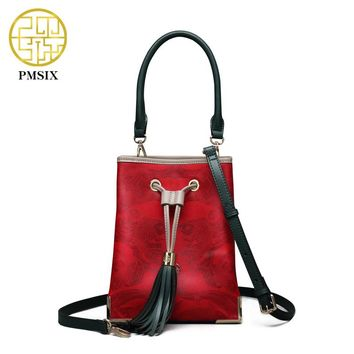 Pmsix 2018 NEW Autumn& Winter Handbag Tassel Cow Leather Bucket shoulder Bag Printing soft Casual Crossbody Red Embossed Handbag