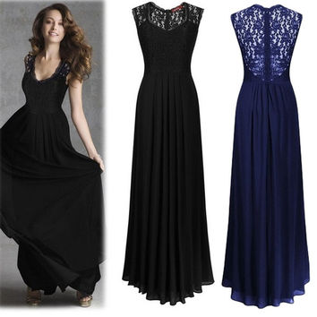 Fashion Women Elegant Lace Splicing Sleeveless Bodycon Cocktail Party Maxi Dress = 1946276420