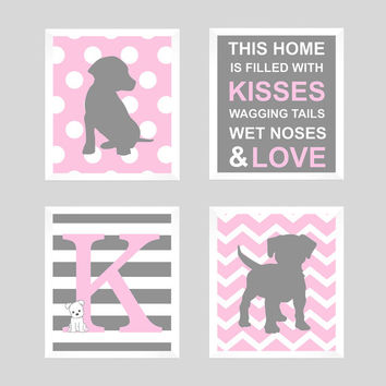 Initial Monogram, Monogram Print, Puppy Wall Decor, Puppy Nursery, Puppy Print, Dog Print, Baby Decor, Kids Wall Art, CUSTOMIZE YOUR COLORS