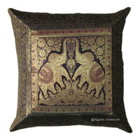 Blue Ethnic Elephant Silk Brocade Decorative Accent Throw Pillow Case
