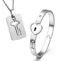 Shell Color Functional Lock & Key Stainless Steel Couples Necklace & Bracelet Set+ Free Spare KEY