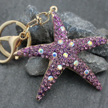 Crystal Keychain, Gold Key Ring, Starfish Keyfob, Crystal Key Chain, Gold Keyring, Key Fob, Star Fish Pink, Purse Charm, Purse Accesories