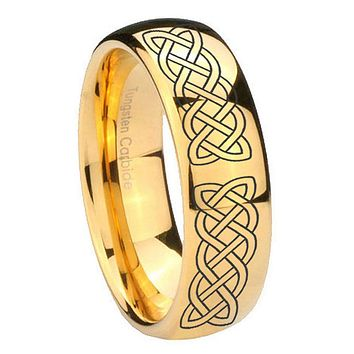 10MM Dome Celtic Knot 14K Gold IP Shiny Tungsten Carbide Men's Ring