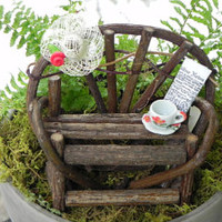 Fairy Garden Twig Bench - miniature with hat red flower coffee cup and newspaper