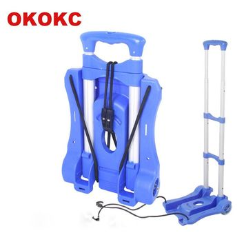 OKOKC Travel Accessories Shopping Cart 2 Wheels Rolling Cart Removable Trolley Carts Portable Folding Luggage Cart