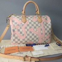 LOUIS VUITTON LV Damier Azur Tahiti Speedy 30 Bag Hand Shoulder N41052 Women