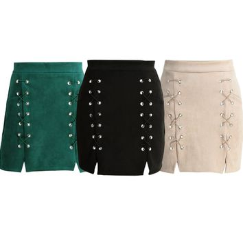Women Lace Up Suede Leather Pencil Skirt