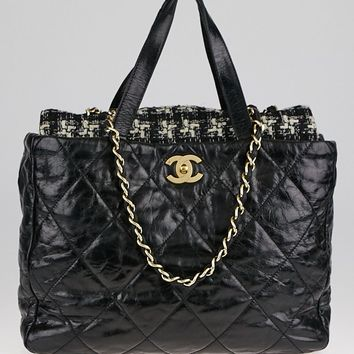 Chanel Black Quilted Glazed Leather and Tweed Large Portobello Tote Bag