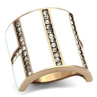 Rose Gold Crystal and White Enamel Stainless Steel Ring
