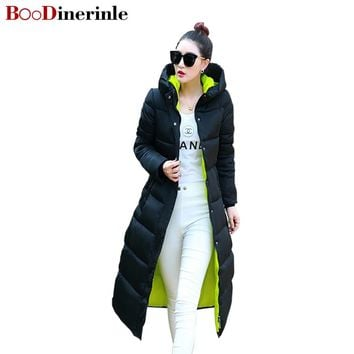 BOoDinerinle Women Jacket Winter 2017 New Hooded Coat Female Long Slim Thin Plus Size Knees Padded Jacket Thicker Coats MY003