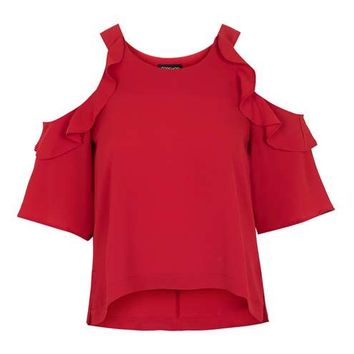 Ruffle Cold Shoulder Tee