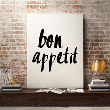 Bon appetit sign, fashion print style, perfect for dorm decor, fashion wall art