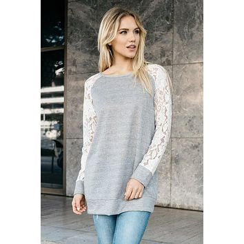 French Terry Lace - Sweater Top