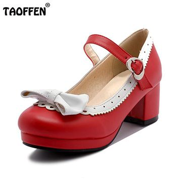 TAOFFEN Women Thick High Heel Shoes Women Patchwork Bowknot Heart Buckle Heels Pumps L