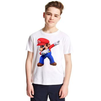 Super Mario party nes switch 1-12Y Children Dabbing  Cartoon Design Tops Boys and Girls Game Casual T Shirt Kids T-Shirt Baby Summer Tops Tees AT_80_8